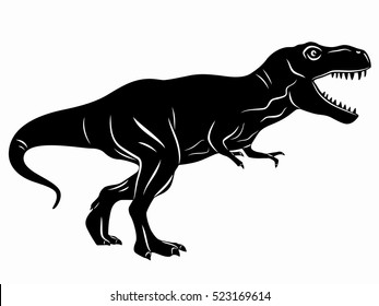illustration of a tyrannosaurus . black and white drawing, white background