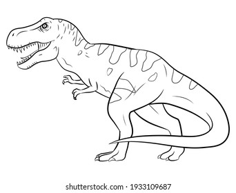 Illustration of tyrannosaurus rex, black and white silhouette.