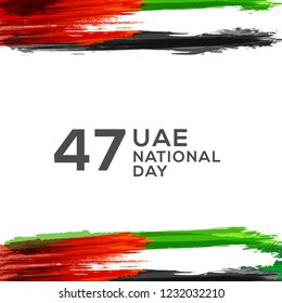Illustration Of UAE National Day Banner Or Poster Design With National Flag Color Theme Background.