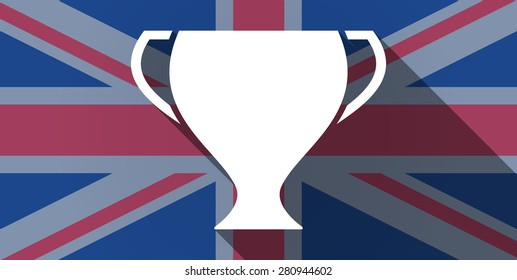 Illustration of an UK flag icon with an award cup
