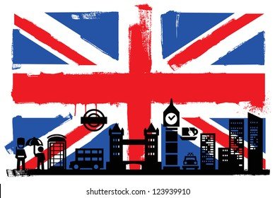 Illustration of the UK flag and silhouettes