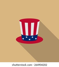 Illustration Uncle Sam's hat for american holidays, flat icon with long shadow, minimal style - vector