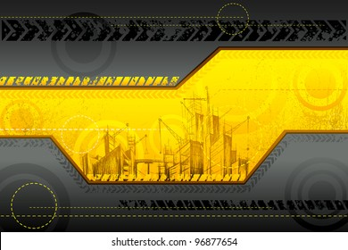 illustration of under construction background with building