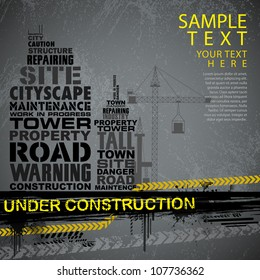 illustration of under construction background with typography