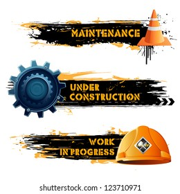 illustration of under construction banner with hard hat and cone