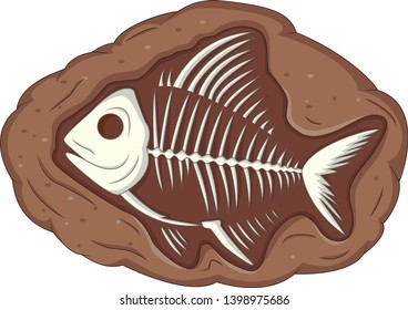 Illustration of underground fish fossil