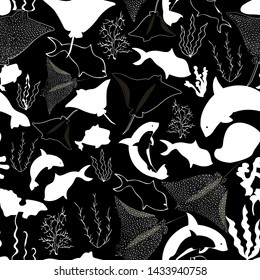 Illustration of underwater corals, whales, rocks, stingray, fish and seaweeds in black and white. Seamless vector pattern for gifts, fabric and scrapbooking.