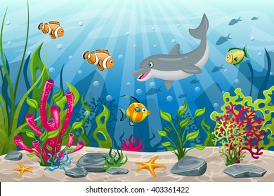 Illustration of underwater landscape with dolphin and fish