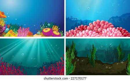 Illustration of underwater scene set