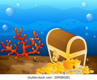Illustration of an underwater treasure