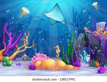 Illustration of the underwater world with a funny fish and ramp