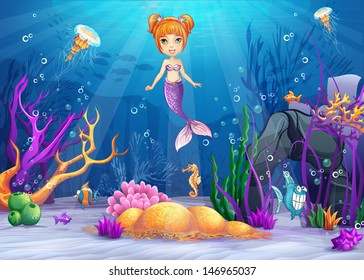 Illustration of the underwater worlds with a funny fish and a mermaid for web graphics, print, game, design.