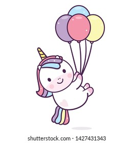 Illustration of Unicorn vector with balloon (Vector) Happy birthday party Pastel color (Funny expressions): Kawaii pony cartoon, Nursery decoration, fairytale character in Flat style design for kids