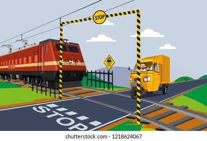 illustration of unmanned rail crossing