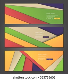 Illustration of unusual modern material design vector backgrounds web banners, headers set