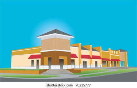 illustration of an upscale beige toned strip mall building with red awnings and tinted glass