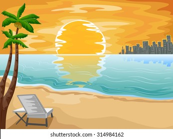 Illustration of an Urban Beachfront with the Setting Sun as its Background