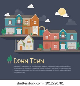 Illustration of urban building. Colorful building at night with fullmoon. Down town flat building template.