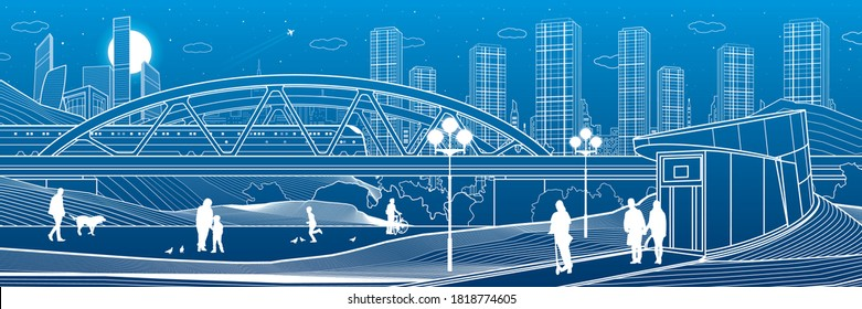 Illustration of urban rest in the park. Train rides on bridge. Relaxation infrastructure. Evening city scene. People walking. White lines on blue background. Vector design art