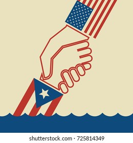 Illustration urging hurricane relief for Puerto Rico. American hand pulling up  Puerto Rican hand. Concept of helping or saving victims.
