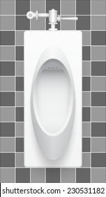 Illustration of urinal on ceramic tile background.