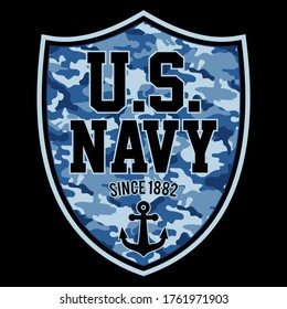 Illustration US Navy, with a badge, shield, pattern navy camouflage, anchor, since 1882