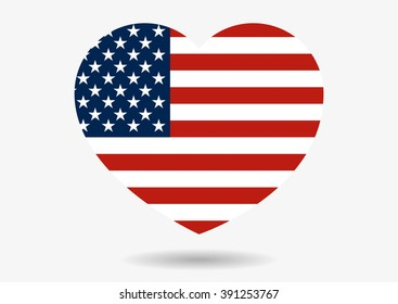Illustration of USA flag in heart shape with shadow isolated on grey