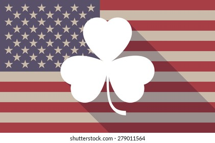 Illustration of an USA flag icon with a clover