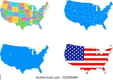 illustration of USA map with 4 different design