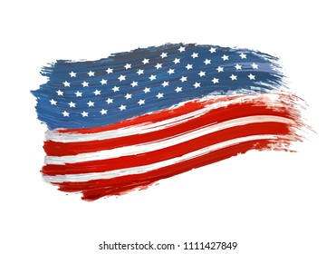Illustration of USA national flag color paint vector. Forth of july. Flag painted. Independence Day
