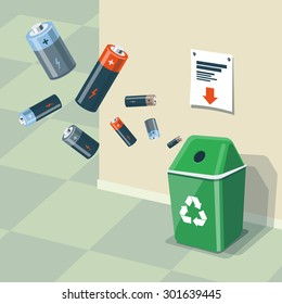 Illustration of used batteries and recycling bin for them. Batteries are in the air and falling into the green trash bin standing near the wall. Waste management concept.