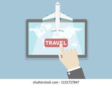 illustration of a vacation and travel booking concept, hand over tablet presses travel button, eps10 vector
