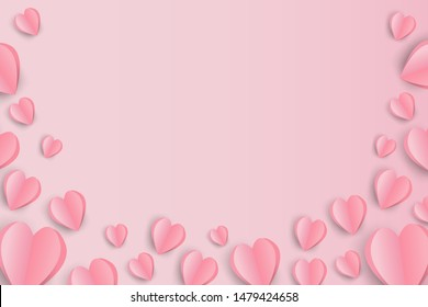 illustration of valentine day background with place text space. Pink hearts on pink background, paper art style.