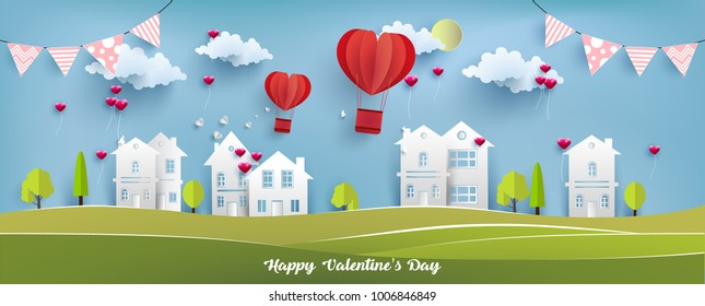 illustration valentine day. beautiful design with views of the country house. There is a balloon over the housing. art paper design