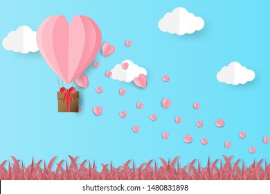Illustration of valentine day greeting card. Origami made  heart balloon flying over grass with heart float on the sky. Paper art style.