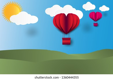 illustration for valentine day,Origami made hot air red and pink balloon flying on the sky on sunny day