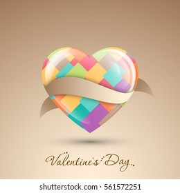 Illustration of Valentine's Day with beautiful heart design vector.