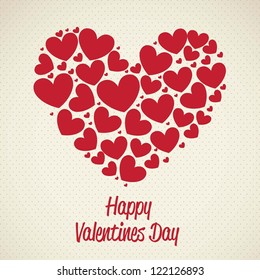 illustration of valentines day, heart made with hearts, vector illustration