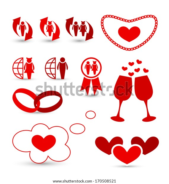 Illustration Valentine's Day infographics and wedding design elements - vector