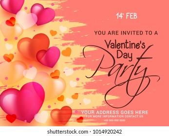 Illustration Of Valentines Day Party Flyer Design.