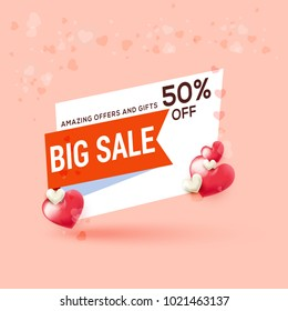 Illustration Of Valentines Day Sale Background With Shiny Heart,Banner,Poster Or Brochure Template Design,Easy To Edit.