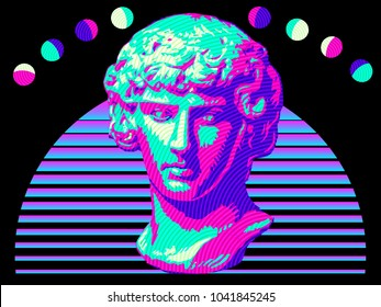 An illustration in the vaporwave style of a classical Roman bust statue, some abstract planets, and an abstract sun shape.