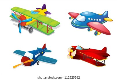 illustration of various air planes on a white background