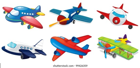 Illustration of various airplanes on white