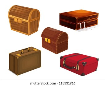 illustration of a various bags on a white background