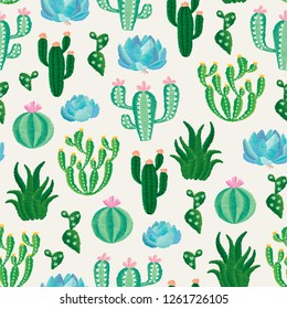 Illustration of various cactuses and succulent plants. Vector seamless embroidery pattern, decorative textile ornament, pillow or bandana decor. Bohemian handmade style background design.