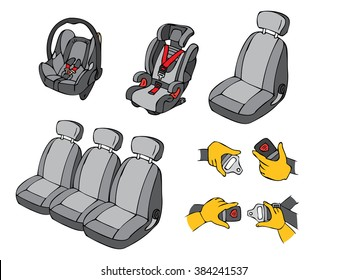 Illustration of various car seats