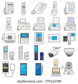 Illustration of various electric appliances / Communication equipment