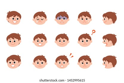 Illustration of various expressions of boy