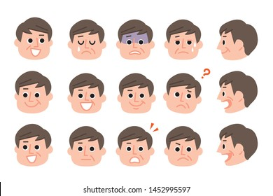 Illustration of various expressions of mature man